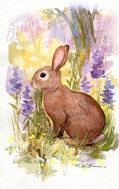 Items similar to Bunny Rabbit Print from Original Watercolor Painting Spring Wildflowers Wildlife on Etsy Animals Watercolor, Watercolor Paintings, Bunny Painting, Painting & Drawing, Animal Paintings, Animal Drawings, Rabbit Art, Bunny Rabbit, Lapin Art
