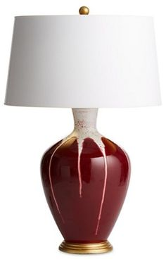 Gisele Drip Table Lamp, Cranberry/White - A Relaxed Retreat - Week 6 - Sales Events 2018 | One Kings Lane