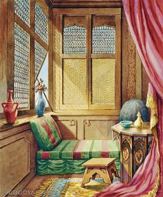 2 Kings 4 and 10 - Let's make a small room on the roof and put in it a bed and a table, a chair and a lamp for him. Then he can stay there whenever he comes to us. Bible Illustrations, Bible Pictures, A Table, King, Chair, Bed, Room, Painting, Salt