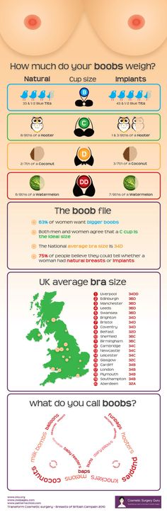 Infographic exploring the weight of breasts in comparison to things often used to name boobs.