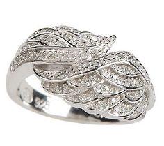 AffinityDiamond 1/7 ct tw Angel Wing Ring, Sterling