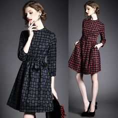 The Spring Fair Maiden Favors Plaid 7 Minutes Of Sleeve A Word Dress  Cultivate One s Morality Dress 1a4090345c93