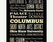 ON SALE Columbus, Ohio, Typography Art Poster / Bus  / Transit / Subway Roll Art 18X24 - Columbus' Attractions Wall Art Decoration -  LHA-16
