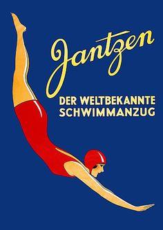 Jantzen Swim Suits vintage German ad.  bathing suit / swimwear advert