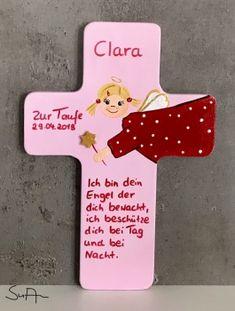 Schutzengel Kreuz für Mädchen mit Glitzer