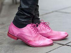 Bubblegum pink wingtip brogues