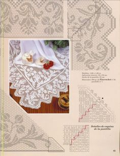 Gallery.ru / Фото #59 - Muestras y Motivos Especial Manteles 5 - tymannost Mantel Redondo, Romanian Lace, Crochet Tablecloth, Crochet Doilies, Fair Isle Knitting, Crochet Hooks, Filet Crochet, Crochet Borders, Knit Crochet