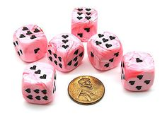 Pack of 6 Heart 'Ice Cream' 16mm D6 Chessex Dice - Pink with Black Hearts