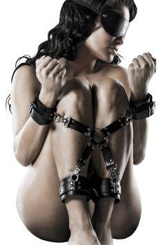 Handschellen Fußfesseln Lederoptik Set schwarz