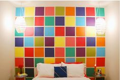 Easy decor--colorful scrapbooking paper on the wall!