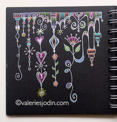 Dangling tangles from visual blessings.like that it is done on black paper with gel pens. Tangle Doodle, Tangle Art, Doodles Zentangles, Zen Doodle, Doodle Art, Doodle Patterns, Zentangle Patterns, Monogramm Alphabet, Doodle Inspiration