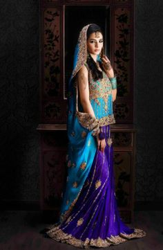 Blue lengha, go to blossomboxjewelry.com for inspiration and accessories for something like this