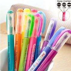 10 colors available (10pcs/lot) Cute Kawaii Korea Novelty Highlighters 3 way Markers Pen Stationery Wholesale Free shipping 041-in Highlighters from Office  School Supplies on Aliexpress.com $5.74