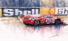 Yurly Shevchuk   WATERCOLOR    Alfa Romeo T33 B2 Le Mans 24 1968 Galli Giunti Painting