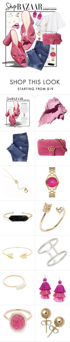 """BAZAAR"" by mcadamsa on Polyvore featuring Loeffler Randall, Bobbi Brown Cosmetics, Essie, Gucci, Michael Kors, BaubleBar, EF Collection, Lord & Taylor, Armitage Avenue and Liberty"