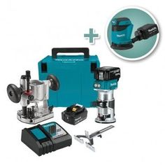 Makita 18V Cordless Lithium-Ion Compact Router Kit with 5'' Random Orbit Sander - Package includes the Makita Cordless Compact Router Kit, plus a Cordless Sander that runs on the same batteries!