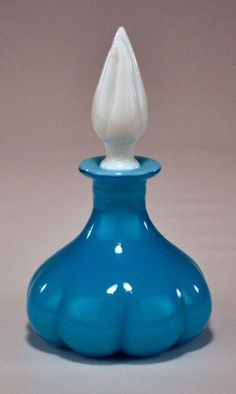 Vintage Jade Light Blue Melon Perfume Bottle c. 1920's