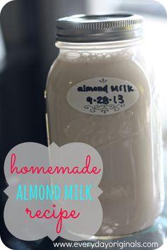almond milk recipe via www.everydayoriginals.com