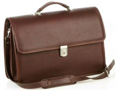 Oversized Multi-Compartment Briefcase - Brown - In stock - Front View