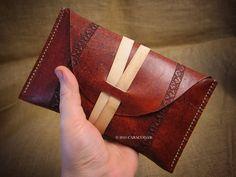 Tarot leather pouch, tarot case, holder, tarot bag, Rider Waite tarot, grain leather, antique burgundy