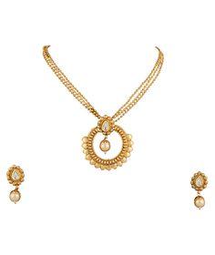 Gold Plated Pendant Earrings Set For Women