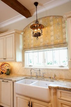 New Ideas For Kitchen Design French Country Window Treatments Country Window Treatments, Arched Window Treatments, Kitchen Window Treatments, Custom Window Treatments, Arched Windows, Blinds For Windows, Window Coverings, Window Valances, Bay Windows