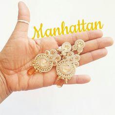 Modello MANHATTAN oro/sabbia #orecchini #soutache #earrings
