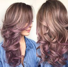 Hair ombre pink rose purple long crulls brown hairdresser