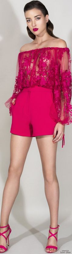 Zuhair Murad Resort 2016, I love the hot pink colours, but I would wear more under the sheer lace blouse - as in a bra and camisole underneath it!