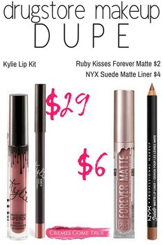 A matte lip look for much less than Kylie Lip Kit. - - A matte lip look for much less than Kylie Lip Kit. Make Up Dupes, Lip Gloss Colors, Lip Colors, Lipstick Colors, Drugstore Makeup Dupes, Beauty Dupes, Beauty Hacks, Elf Dupes, Eyeshadow Dupes
