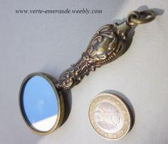 Petit Miroir à main rond en métal creux. Hollow metal Hand held | eBay