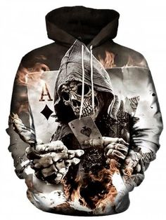 b33e74169 Shop for ✿ 31% OFF ✿ 2018 Men s Autumn Winter 3D Poker Printed Hoodie in  MULTI 2XL online at  23.65 and discover other cheap Hoodies   Sweatshirts  at ...