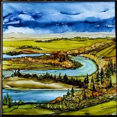 River View by Jewel Buhay Alcohol ink on tile