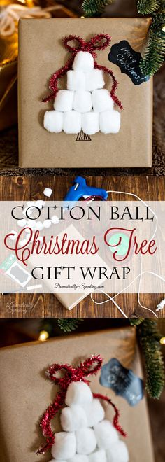 Easy Cotton Ball Christmas Tree Wrapping I love this simple idea for a festive gift wrapping idea! LOVE this Cotton Ball Christmas Tree Gift Wrapping Idea! Such an easy way to make brown paper wrapping all dressed up and festive. Christmas Trees For Kids, All Things Christmas, Christmas Crafts, Christmas Decorations, Christmas Ornaments, White Christmas, Christmas Ideas, Holiday Decorating, Holiday Ideas