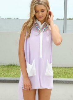 Lavender Shirt Dress with Slip Underlay & Contrast Pockets,  Dress, asymmetric dress  shirt dress, Chic
