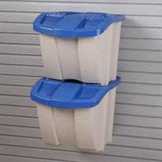 Recycling Center Taupe with Blue Lids