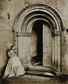 Victorian era photograph of Melrose Abbey, founded 1136, Scotland - Norman door
