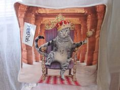 "$32.99 + $9.95 SHIPPING TO CT- WHIMSICAL KING CAT WITH CROWN DECORATIVE TOSS PILLOW 18"" NEW CAT LOVER  #PETPALS"