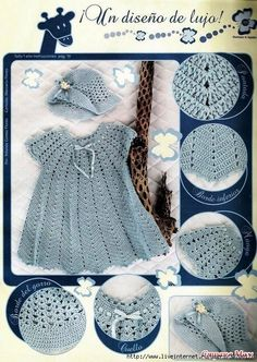 Crochet dress and hat.
