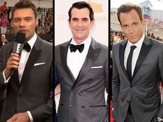 Gray suits with Satin peak lapels #emmys