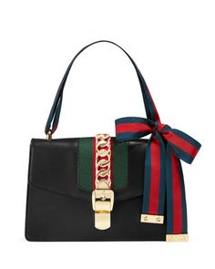 Sylvie+Small+Leather+Shoulder+Bag,+Black/Green/Red+by+Gucci+at+Bergdorf+Goodman.