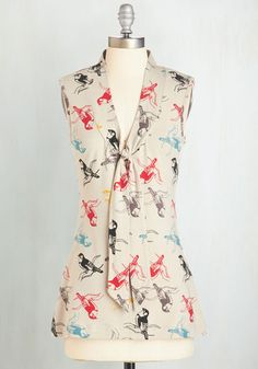 Housewarming Your Home Top in Warblers by Effie's Heart - Multi, Print with Animals, Tie Neck, Work, Casual, Bird, Sleeveless, Variation, Multi, Sleeveless, Mid-length