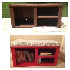 old entertainment center found in the trash turned into a little boy's reading bench