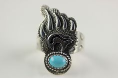 Native American Navajo .925 Sterling Silver Turquoise Bear Paw Ring Size 8 by LoudCrowTradingCo on Etsy