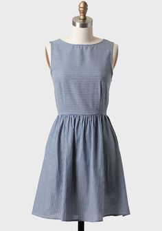 Set Sail Striped Chambray Dress- I love dresses that are cut like this