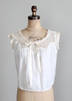 1910s Edwardian Cotton and Crochet Top