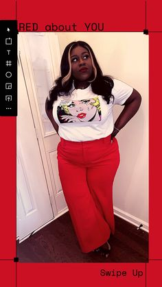 Red Pants, Red Lips, My Favorite Color, Women Empowerment, Wide Leg Pants, Plus Size Outfits, Plus Size Fashion, Black Women, Give It To Me