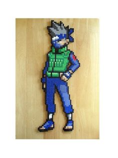 Kakashi pixel art made from fuse beads