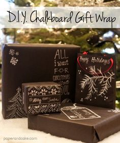 DIY Chalkboard Gift wrap | Paper & Cake