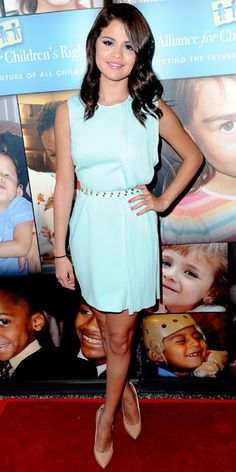 At an L.A. Alliance For Children's Rights event, Gomez styled her pastel Versace cocktail dress with pointy-toe pumps.